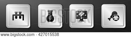 Set Test Tube And Flask, , Genetic Engineering Modification And Gmo Research Chicken Icon. Silver Sq