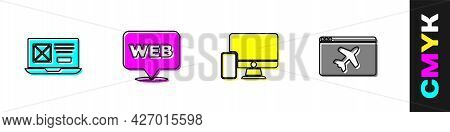 Set Ui Or Ux Design, Web And Graphic, Monitor Mobile And Website Template Icon. Vector