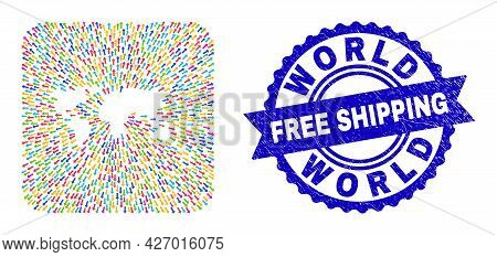 Vector Mosaic World Map Of Out Arrows And Scratched Free Shipping Stamp. Mosaic World Map Designed A