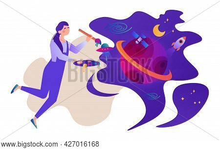 Graphic Designer Concept. A Female Illustrator Holds A Brush And Palette, Draws A Cosmic Abstract Sp