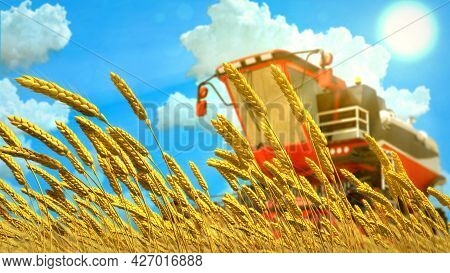 Combine Harvester On Rye Or Wheat Field On Sunny Day , Fictional Industrial 3d Illustration