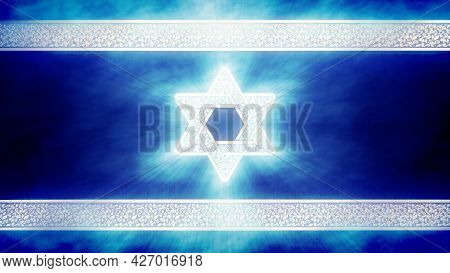 Nice Israel Flag With Magen David - Cgi Abstract 3d Rendering