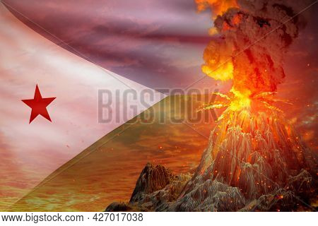 High Volcano Eruption At Night With Explosion On Djibouti Flag Background, Suffer From Eruption And