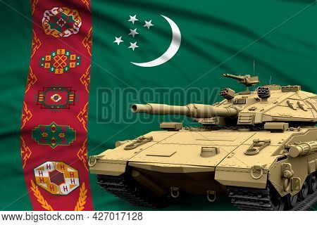 Turkmenistan Modern Tank With Not Real Design On The Flag Background - Tank Army Forces Concept, Mil