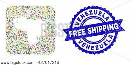Vector Collage Venezuela Map Of Movement Arrows And Rubber Free Shipping Stamp. Collage Venezuela Ma