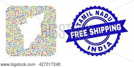Vector Collage Tamil Nadu State Map Of Movement Arrows And Rubber Free Shipping Badge. Collage Tamil