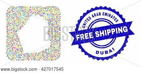 Vector Collage Dubai Emirate Map Of Pointing Arrows And Rubber Free Shipping Badge. Collage Dubai Em