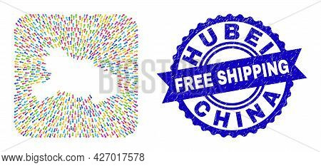 Vector Mosaic Hubei Province Map Of Out Arrows And Rubber Free Shipping Stamp. Mosaic Hubei Province