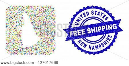 Vector Mosaic New Hampshire State Map Of Out Arrows And Rubber Free Shipping Seal. Mosaic New Hampsh