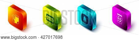 Set Isometric Socks, False Jaw, Emergency Phone Call And Medicine Bottle And Pills Icon. Vector