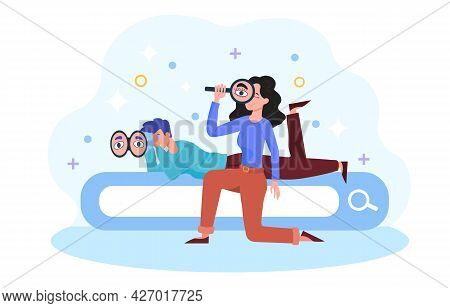 Search Or Research Concept. The Man Lies On The Search Bar And Looks Through Binoculars. A Woman Hol