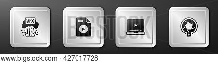 Set Vfx, Avi File Document, Online Play Video And Camera Shutter Icon. Silver Square Button. Vector