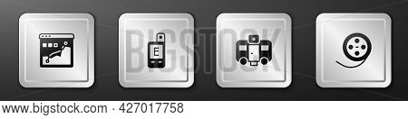Set Histogram Graph Photography, Light Meter, Actor Trailer And Film Reel Icon. Silver Square Button