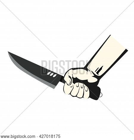 Hand Carrying A Sharp Knife. Vector Illustration Flat Design Style