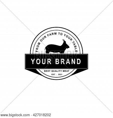 Retro Vintage Goat. Lamb. Emblem Label Logo Design Vector