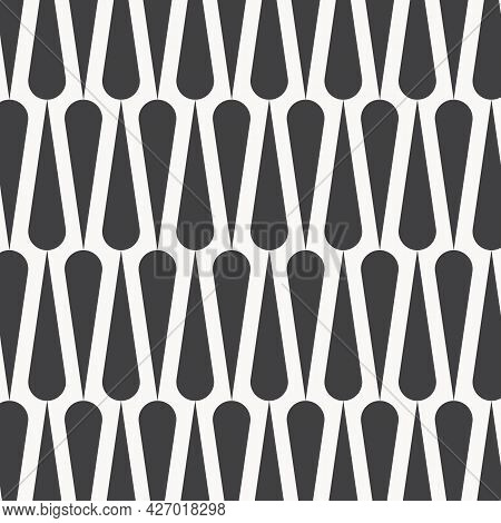 Vector Pattern, Repeating Mid-century Modern Style Retro Texture On Black And White. Pattern Is Clea