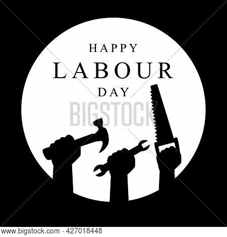 World Labor Day On The Background Of Workers In Black Silhouettes. Flat Style Vector Illustration Co