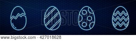 Set Line Easter Egg, Broken Egg, Easter Egg And Easter Egg. Glowing Neon Icon On Brick Wall. Vector