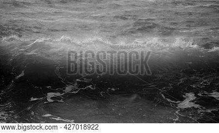 Stunning Dark Moody Toned Fine Art Seascape Image Of Breaking Waves On Atlantic Ocean In Devon Engla