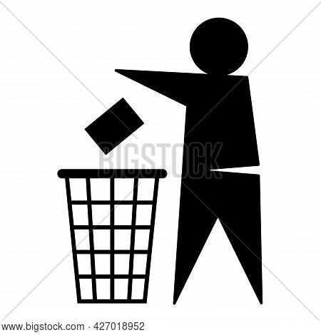 Character Man Throws Trash Into Trash Can Isolated On White Background. Utilization Of Containers, P