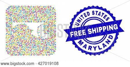 Vector Collage Maryland State Map Of Motion Arrows And Grunge Free Shipping Seal Stamp. Collage Mary
