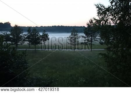 A Narrow Path With Trees Against The Background Of The Evening Summer Fog.a Mysterious Summer Evenin