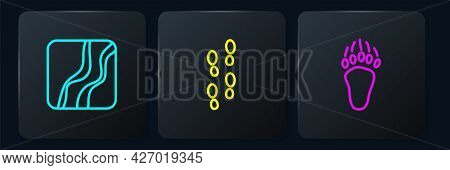 Set Line Snake Paw Footprint, Bear And Human Footprints Shoes. Black Square Button. Vector