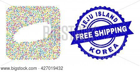 Vector Collage Jeju Island Map Of Motion Arrows And Rubber Free Shipping Seal. Collage Jeju Island M
