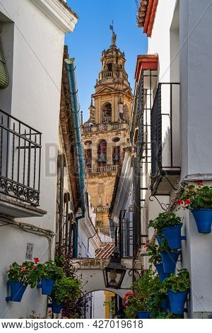 The Bell Tower, Torre Campanario At The Mosque-cathedral Of Cordoba, Spain. A Minaret Of The Mezquit
