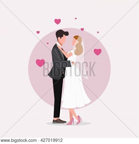 Wedding Married Couple Clipart. Wedding Married Couple Isolated Simple Flat Vector Clipart