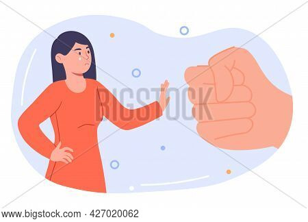 Domestic Violence Concept. A Strong Woman With Tears In Her Eyes Stops A Man S Fist. A Metaphor For