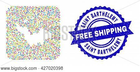 Vector Collage Saint Barthelemy Map Of Pointer Arrows And Rubber Free Shipping Seal. Collage Saint B