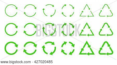 Ecology, Cleanliness And Recycling Symbol. The Return Sign And The Cycle. Vector Illustration Of Gre