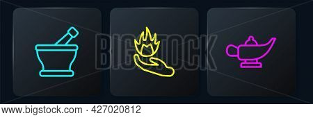 Set Line Mortar And Pestle, Magic Lamp Aladdin And Hand Holding Fire. Black Square Button. Vector