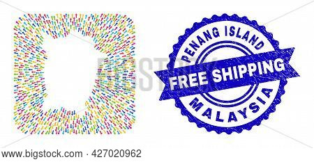 Vector Collage Penang Island Map Of Leaving Arrows And Scratched Free Shipping Stamp. Mosaic Penang