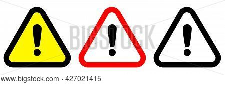 Exclamation Mark Of Warning Attention Icon. Vector Yellow Attention Warning Triangle Alert Set. Vect