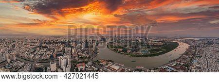 Amazing Sunset Cityscape View Of Saigon Skylines, Vietnam