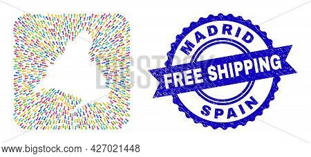 Vector Mosaic Madrid Province Map Of Motion Arrows And Scratched Free Shipping Stamp. Mosaic Madrid