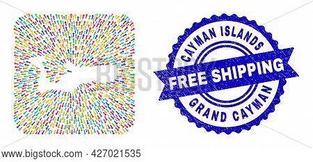 Vector Mosaic Grand Cayman Island Map Of Navigation Arrows And Rubber Free Shipping Seal. Mosaic Gra
