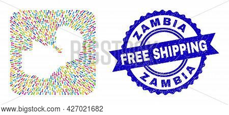 Vector Collage Zambia Map Of Movement Arrows And Rubber Free Shipping Badge. Collage Zambia Map Cons