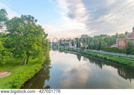 Zgorzelec, Poland - June 2, 2021: Lusatian Neisse River On The Border Between Poland And Germany At