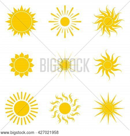 Funny Vector Sun And. A Bright And Sunny Day. A Symbol Of Relaxation And Warmth. Vacations, Hot Coun