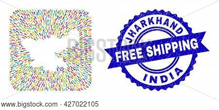 Vector Collage Jharkhand State Map Of Leaving Arrows And Rubber Free Shipping Stamp. Mosaic Jharkhan