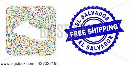 Vector Collage El Salvador Map Of Pointing Arrows And Rubber Free Shipping Stamp. Collage El Salvado
