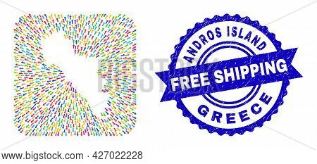 Vector Mosaic Andros Island Of Greece Map Of Arrows And Rubber Free Shipping Seal Stamp. Mosaic Andr