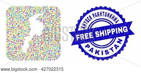 Vector Collage Khyber Pakhtunkhwa Province Map Of Emigration Arrows And Rubber Free Shipping Stamp.