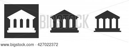 Government Building, Bank Or Theater Symbol. Architecture Sign With Columns Isolated