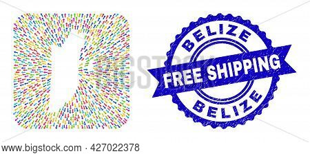 Vector Collage Belize Map Of Direction Arrows And Rubber Free Shipping Stamp. Collage Belize Map Cre