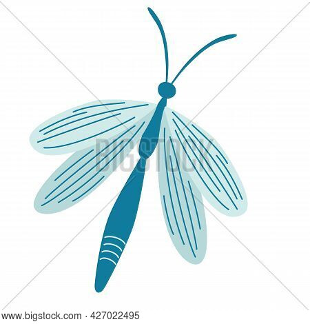 Dragonfly. Cute Dragon Fly. Insect. Vector Illustration In Flat Cartoon Style Isolated On White Back