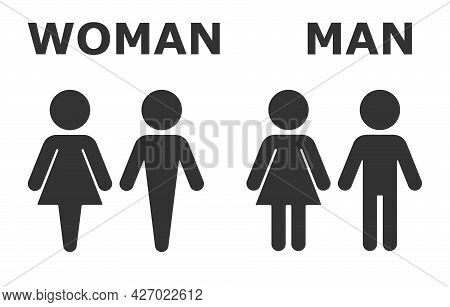 Toilet Icon. Toilet Sign. Male And Female Bathroom Sign. Black Abstract Symbols Of Man And Woman In